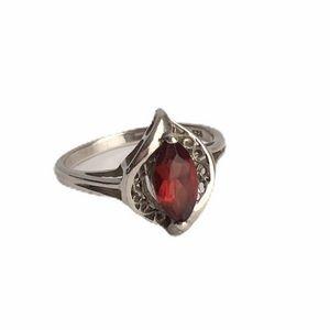 Vintage Garnet Sterling Silver Ring Marquise Cut 8